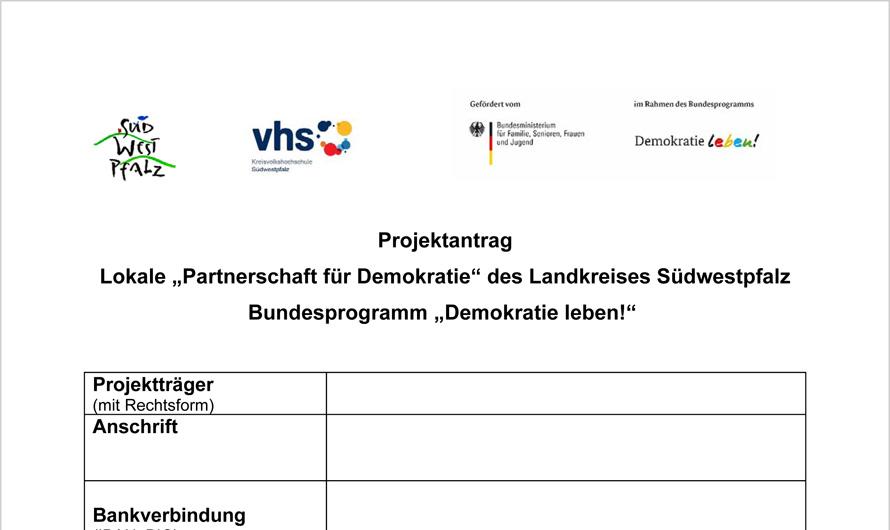Partnerschaft für Demokratie Südwestpfalz ruft auf Förderanträge für Projekte einzureichen